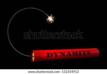 3d render of dynamite stick over black background