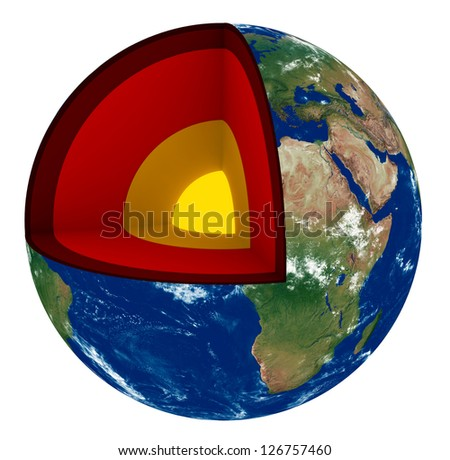 3d render of Earth cross section showing its internal structure