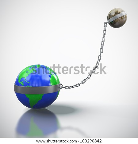 3D render of Earth linked with Moon isolated on white background