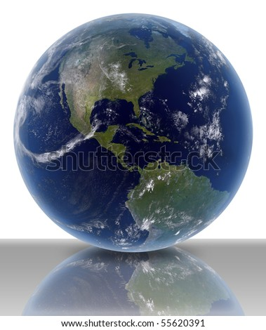3D render of earth on white background with ground reflection. - stock photo