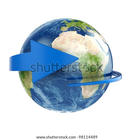 3d render of Earth with blue arrow around. Elements of this image furnished by NASA