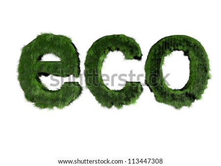 3d render of eco text made of grass