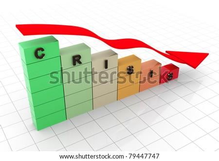 3d render of economy crisis concept