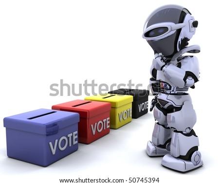 3D render of election day ballot boxes