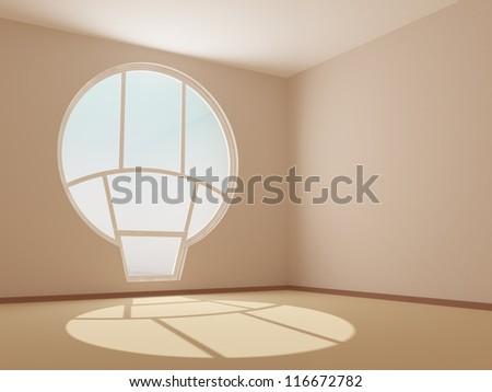 3d render of empty room with round window