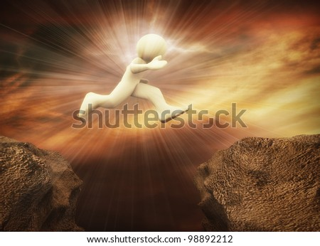 3d render of energetic man jumping on Mountainside. 3d illustration of human character - stock photo