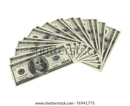 3d render of fanned dollar notes on white background