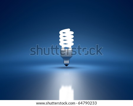 3d render of fluorescent bulb on blue background
