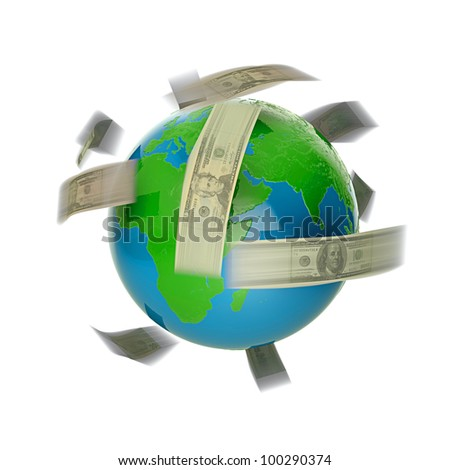 3D render of flying dollar bills around world