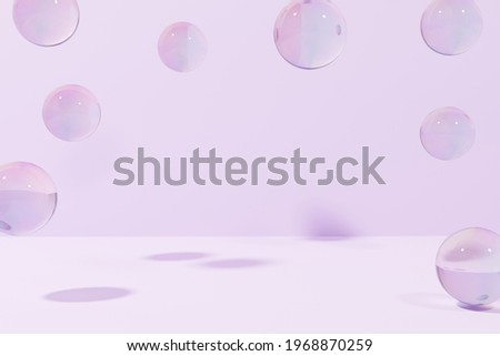3d render of flying soap bubbles on a purple background modern frame for your project Foto stock ©