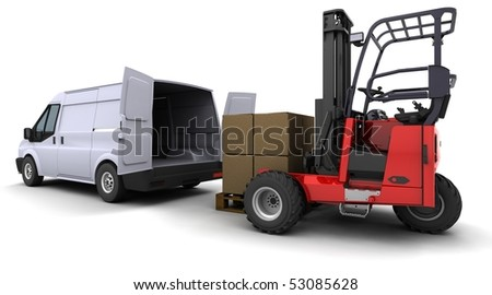 3d render of forklift truck loading a van