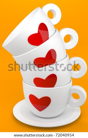 3d render of four cups of coffee