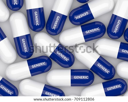 3D render of generic drug pills  isolated over white background