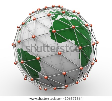 3d render of global business network concept.