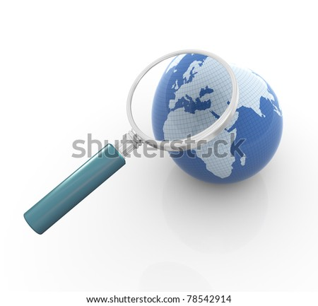 3d render of globe and magnifying glass. Concept of global search