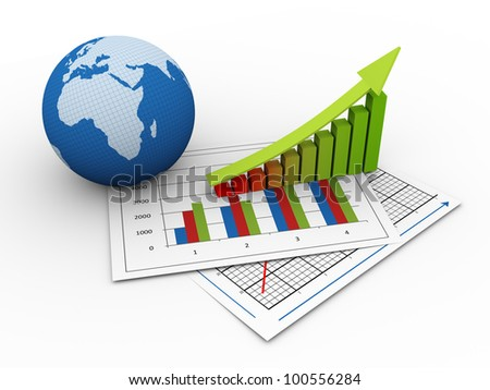3d render of globe and progress bars on financial paper. concept of global financial growth