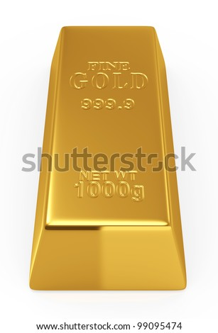 3d render of gold bar isolated on white  background