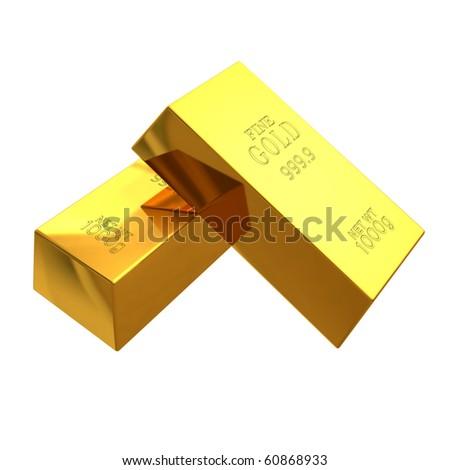 3d render of gold bars on white background