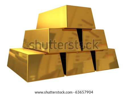 3d render of gold bars on white background