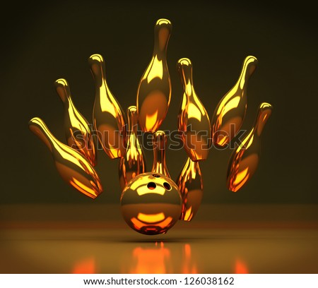 3d render of Gold Bowling strike