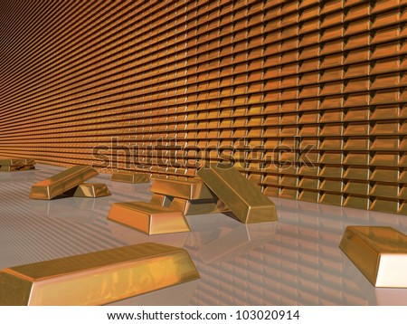 3d Render of Gold Bullion Vault