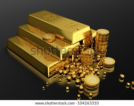 3d render of gold ingots pyramid on black background
