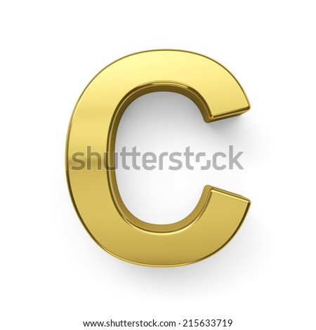 3d Render Of Golden Alphabet Letter Symbol C Isolated On White