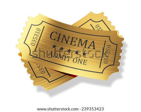 3d render of golden cinema tickets with shadow isolated on white background