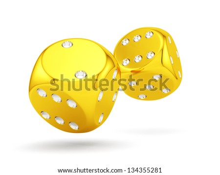3d render of golden dices isolated on white background