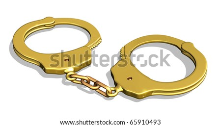 3D render of golden handcuffs - I had for-profit-prisons in mind when I created this, but it would also make make a great metaphor for a very restrictive, yet lucrative contract and more...