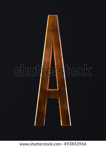 3d render of golden metal dirty rust scratch alphabet letter symbol - A. Alphabet character on the dark background