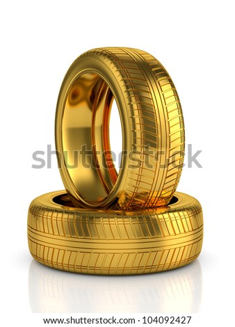 3d render of golden tyre isolated on white background