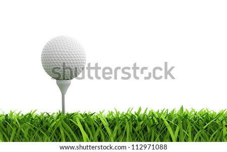 3d render of golf ball on green lawn