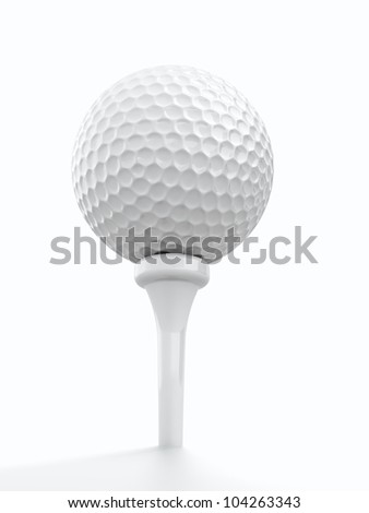 3d render of golf ball on white background