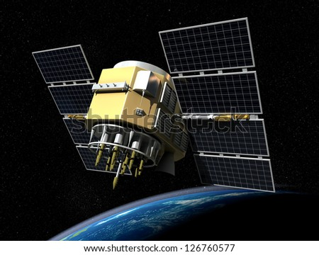 3d render of GPS satelite isolated on black background