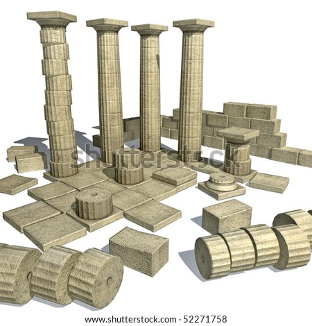 3d render of Greek ruins with Parthenon like columns