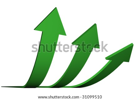 3D Render of green arrows isolated on white background. Business concept: Success.