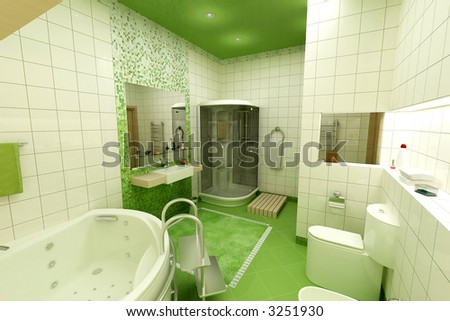 3d render of green bathroom