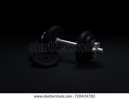 3D render of gym weights and dumbbell rack with a wooden floor, representing indoor gym equipment and tool for personal health and well-being