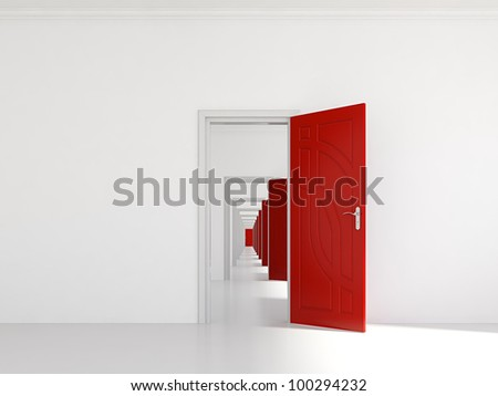 3d render of hallway with many red doors