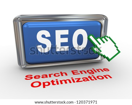 3d render of hand cursor and seo - search engine optimization