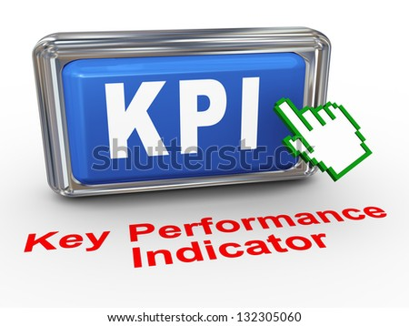 3d render of hand cursor pointer click on button with phrase KPI Key Performance Indicator