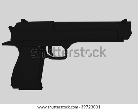 3d render of hand gun