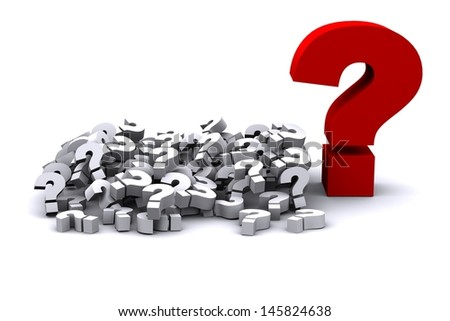 3d render of heap of question marks with one big red question mark - stock photo