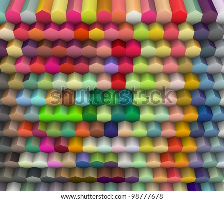 3d render of hexagon backdrop in multiple bright colors