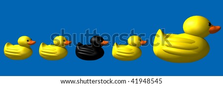 3d render of high contract of yellow and black duck