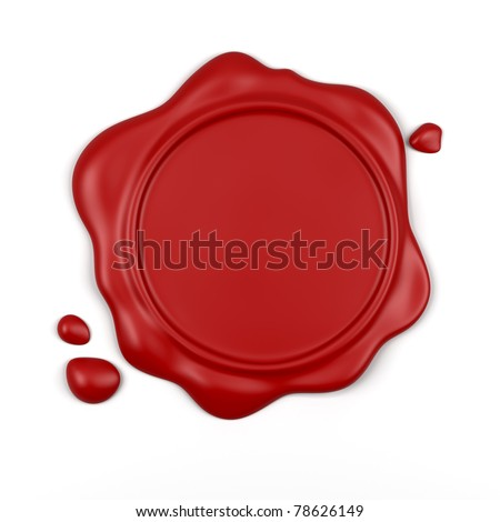 3d render of high resolution red wax seal with drops isolated over white background