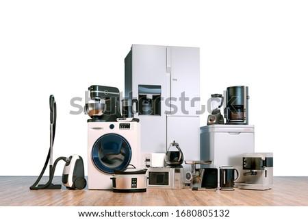 3d render of home appliances collection set