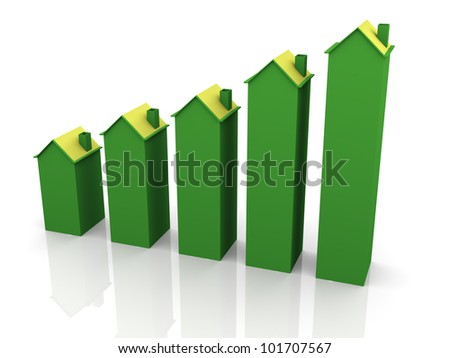 3d render of home progress bars. Concept of increase value of property. - stock photo