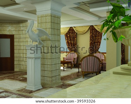 hotel lobby desk. of hotel lobby interior in